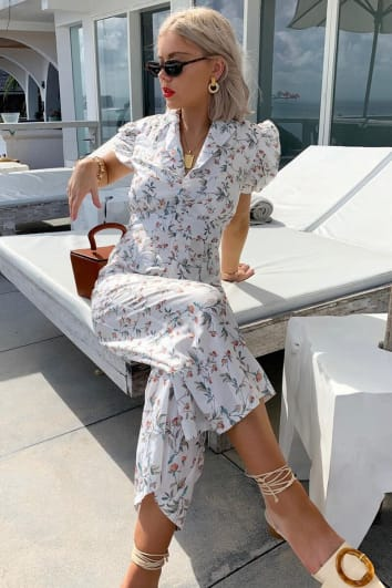 LAURA JADE WHITE FLORAL PUFF SLEEVE TAILORED CULOTTE JUMPSUIT