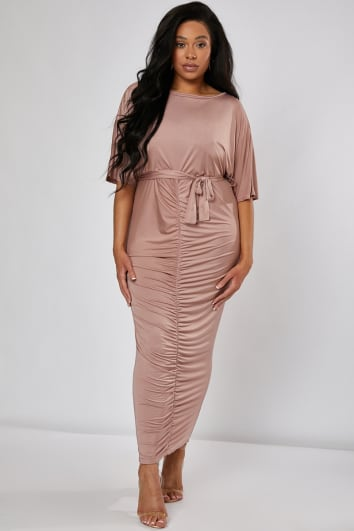 CURVE KAIA PINK SLINKY RUCHED BELTED MAXI DRESS