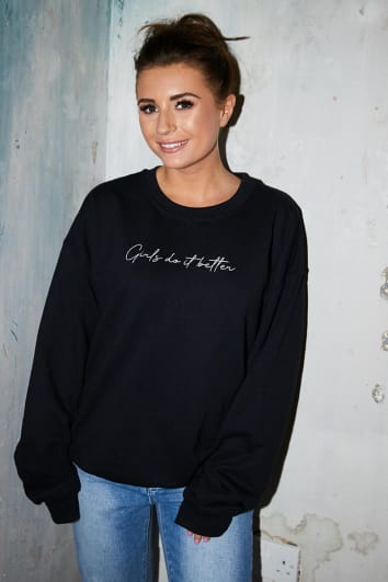 DANI DYER GIRLS DO IT BETTER BLACK SLOGAN OVERSIZED SWEATER