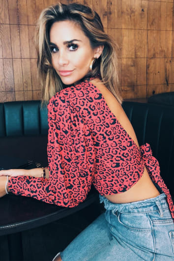 EMILY SHAK RED LEOPARD PRINT PUFF SLEEVE TIE BACK TOP