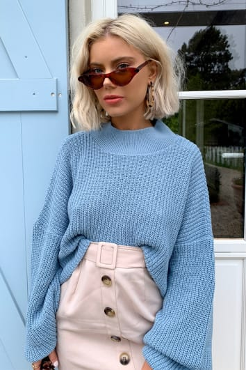 LAURA JADE DUSTY BLUE CROPPED BALLOON SLEEVE JUMPER