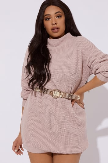 CURVE AABEA NUDE HIGH NECK KNITTED DRESS