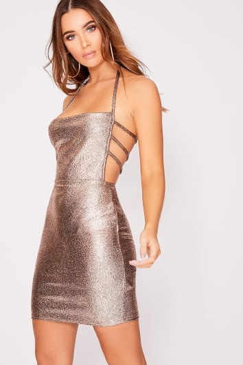 EDALINE COPPER METALLIC STRAP DETAIL BACKLESS DRESS