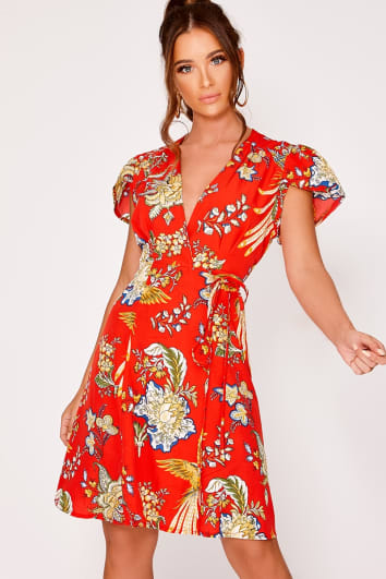 ELROY RED ORIENTAL FLORAL WRAP FRONT DRESS