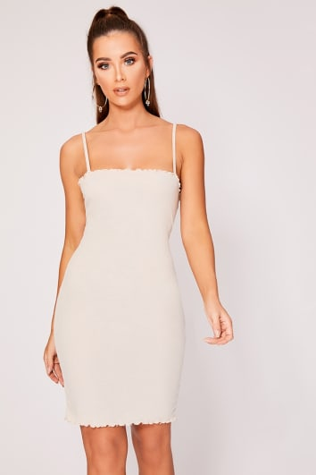 ELORIA STONE RIBBED FRILL EDGE CAMI DRESS