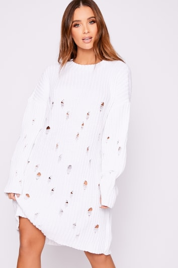 FRANKY WHITE DISTRESSED OVERSIZED KNITTED JUMPER DRESS