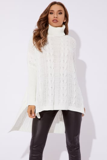 ABILYNE CREAM CABLE KNIT OVERSIZED JUMPER