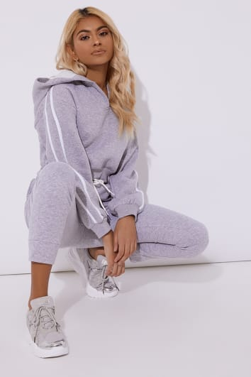 OLIVEEA GREY FLEECE BACK STRIPE DETAIL HOODY