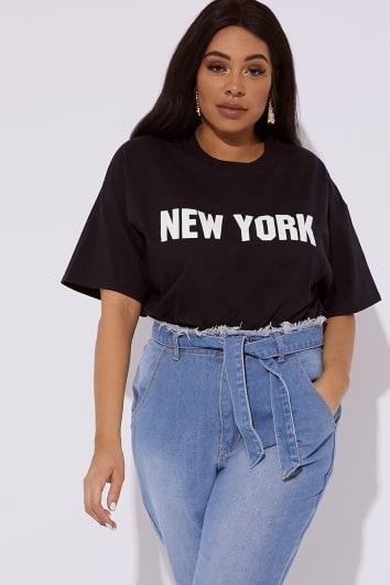 CURVE NOYA BLACK NEW YORK SLOGAN T SHIRT