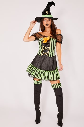 HALLOWEEN GREEN AND BLACK WITCHES COSTUME