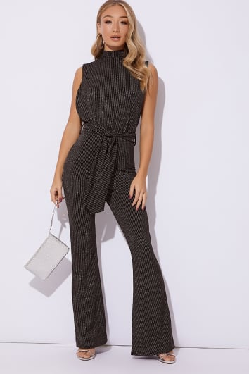 FRANKI BLACK GLITTER HIGH NECK TIE WAIST JUMPSUIT