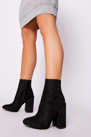 SILIA BLACK FAUX SUEDE ROUND TOE HEELED ANKLE BOOTS