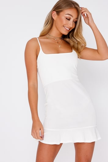 DYANIE WHITE FRILL HEM BODYCON DRESS