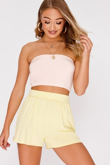 BASIC YELLOW JERSEY HIGH WAISTED SHORTS