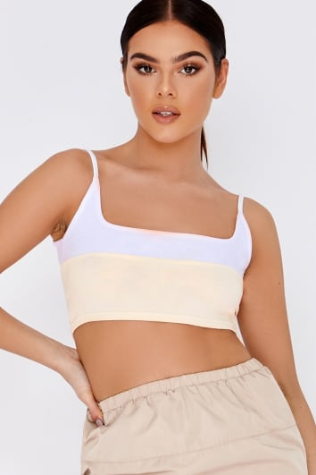 PIA MIA STONE TWO TONE SQUARE NECK CROP TOP