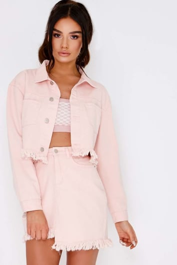 FILLISA PINK FRAYED HEM CROPPED DENIM JACKET