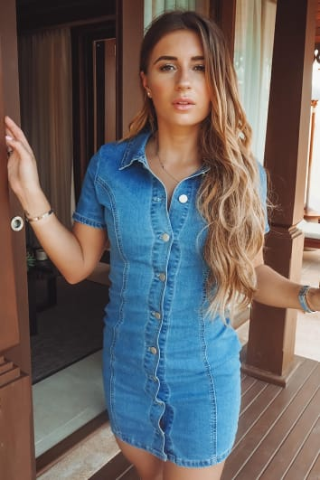 DANI DYER DENIM BUTTON DOWN MINI DRESS