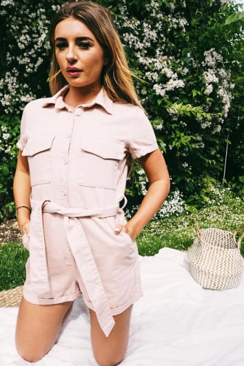 DANI DYER PASTEL PINK BELTED DENIM PLAYSUIT