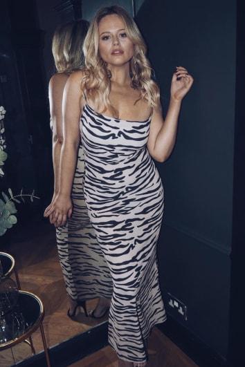 EMILY ATACK OMBRE TIGER PRINT COWL NECK MAXI DRESS
