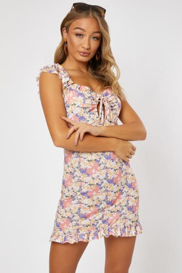 EMILY ATACK PINK FLORAL FRILL SHOULDER GYPSY DRESS