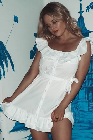 EMILY ATACK WHITE FRILL SHOULDER TIE WAIST BUTTON DOWN DRESS