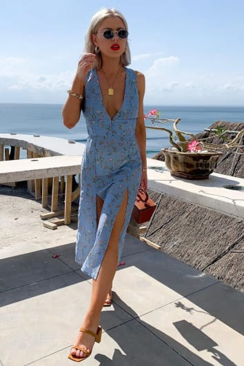LAURA JADE BLUE FLORAL PLUNGE FRILL MIDI DRESS