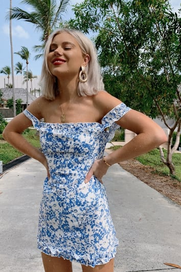LAURA JADE BLUE FLORAL BARDOT FRILL MINI DRESS