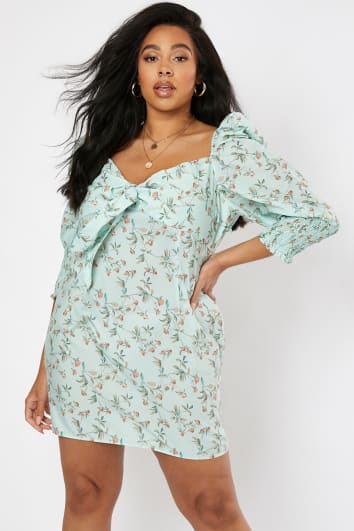 CURVE LAURA JADE GREEN FLORAL PRINT TIE FRONT PUFF SHOULDER MINI DRESS
