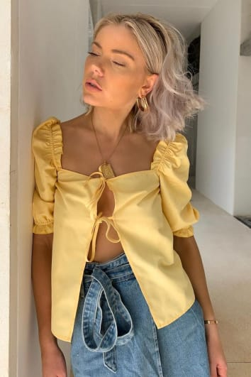 LAURA JADE YELLOW FRILL PUFF SLEEVED TIE FRONT TOP