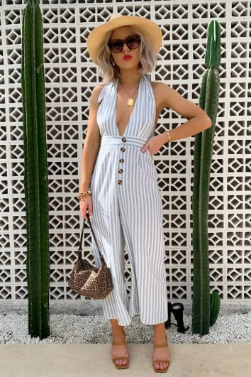 LAURA JADE GREEN STRIPED HALTERNECK CULOTTE JUMPSUIT