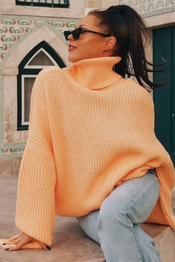 LORNA LUXE 'NO TURNING BACK' PEEKABOO BACK ROLL NECK APRICOT JUMPER