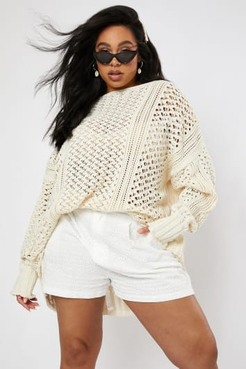 CURVE LORNA LUXE 'ME WITHOUT YOU' OFF WHITE CROCHET OVERSIZED JUMPER
