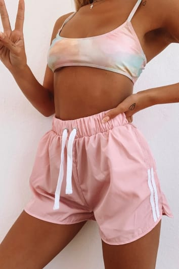 LOTTIE TOMLINSON PINK SHELL STRIPE SIDE SHORTS