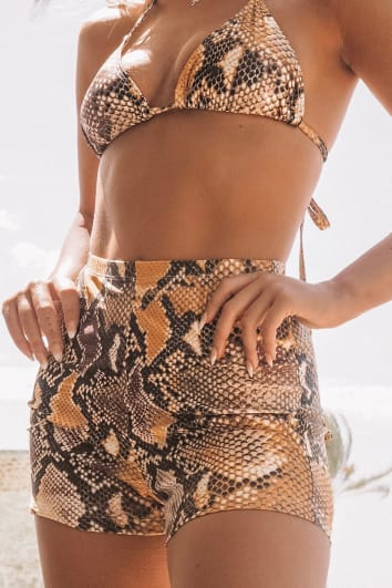 LOTTIE TOMLINSON ORANGE SNAKE PRINT SWIM CYCLE SHORTS