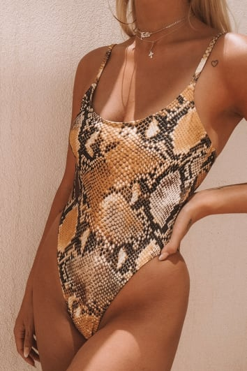 LOTTIE TOMLINSON ORANGE SNAKE PRINT SCOOP SWIMSUIT