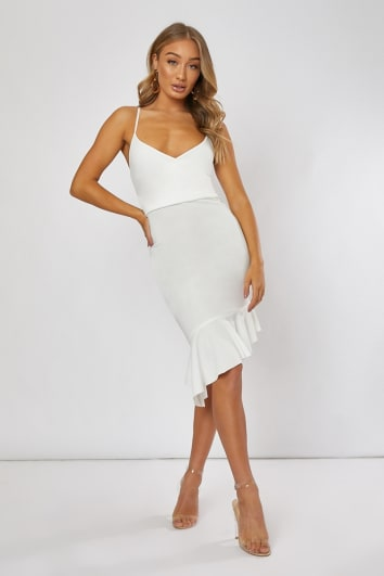 LOUANNIE WHITE FRILL HEM ASYMMETRIC MIDI DRESS