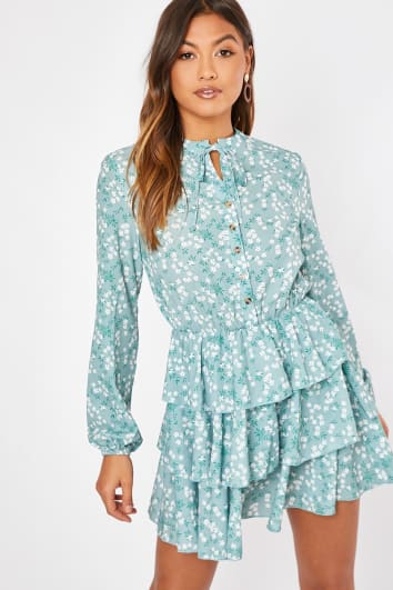 SHAWNIA SAGE FLORAL BUTTON DETAIL TIERED DRESS