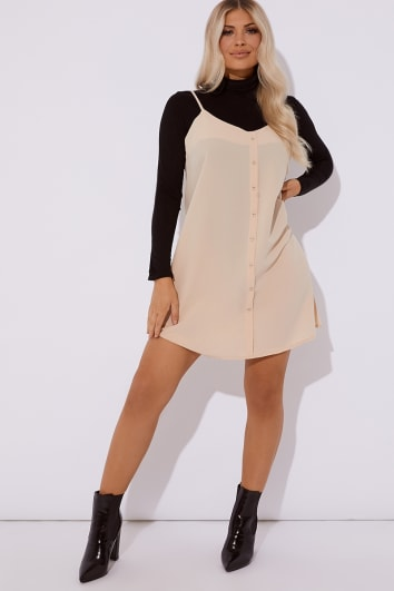 LOUISE NUDE STRAPPY CAMI BUTTON SLIP DRESS