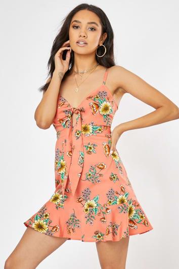 BILLINDA ORANGE FLORAL TIE FRONT CAMI DRESS