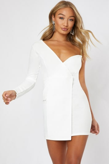 DELLA WHITE ONE SHOULDER TUX DRESS