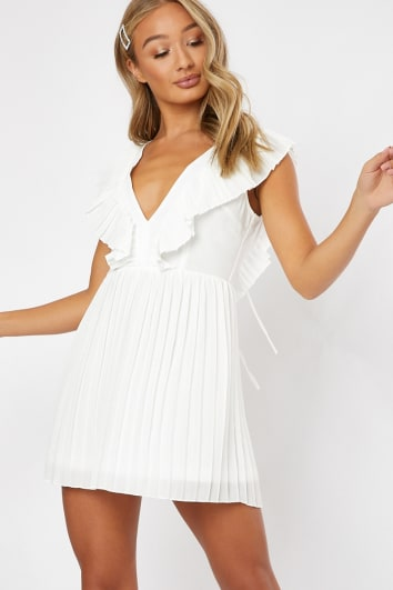 CLELIA WHITE PLEATED FRILL PLUNGE FRONT MINI DRESS
