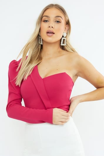 METHAN FUSCHIA ONE SHOULDER COLLAR DETAIL BODYSUIT