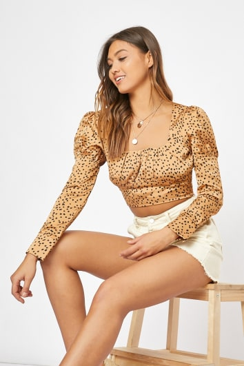 PRESLEY GOLD SATIN POLKA DOT RUCHED CROP TOP
