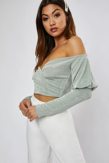 MAMINA SAGE GREEN SLINKY PUFF SLEEVE BARDOT CROP TOP