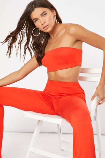 CORALIA ORANGE BANDEAU CROP TOP