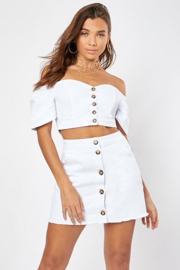 HALKY WHITE BUTTON FRONT PUFF SLEEVE DENIM CROP TOP