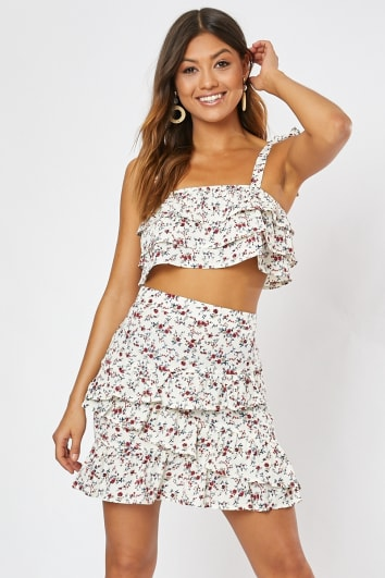 HADRIANA WHITE DITSY FLORAL TIERED FRILL CROP TOP