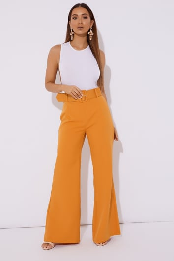 OMAKINDA ORANGE BELT DETAIL TROUSERS