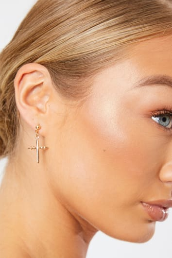 GOLD MIX AND MATCH CROSS AND PEARL EARRINGS