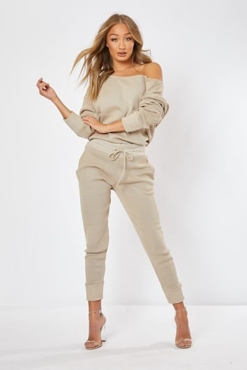 DAGNY STONE KNITTED CO-ORD TOP AND JOGGERS